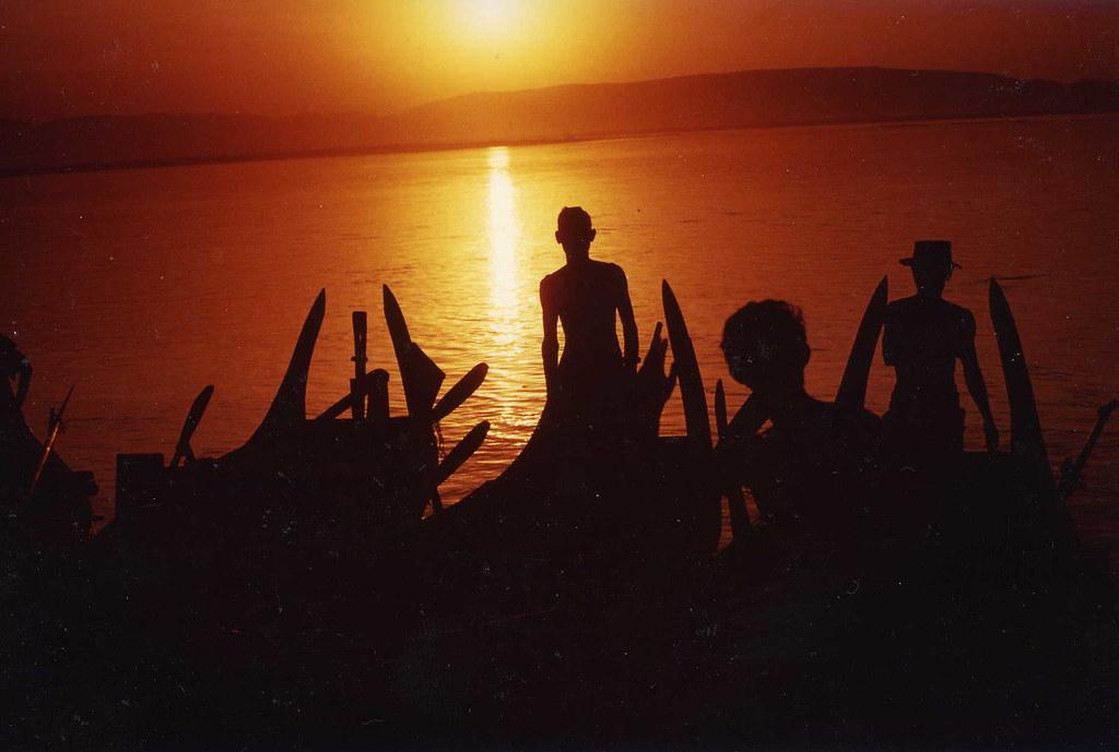 burma sunset fishermen