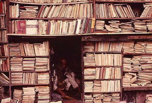 Countless books in a bookstore in Calcutta, India