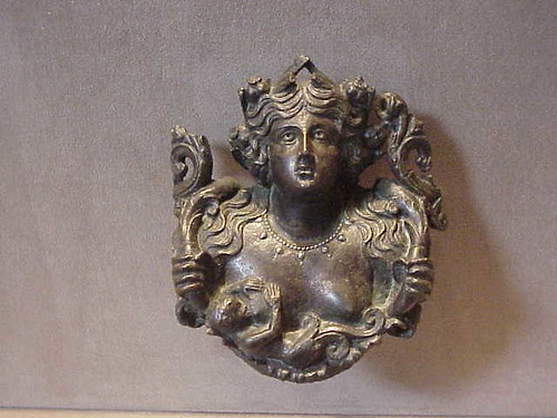Roman roundel depicting Mother Goddess Gaia (Bona Dea) bronze with silver inlay 1st century CE