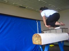 boxing ring(0.0), trampolining(0.0), balance beam(1.0), sports(1.0), gymnastics(1.0), artistic gymnastics(1.0),
