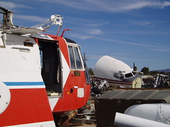 Coast Guard HH-3 helicopter and TWA cockpit section