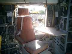 Interior, salvaged Coast Guard HH3 helicopter