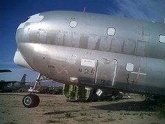 Salvaged KC-97, resting on its tail