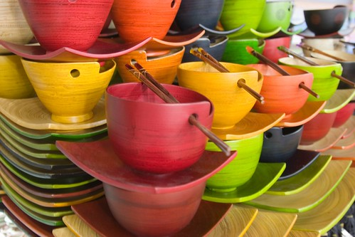 Colorful wooden bowls...