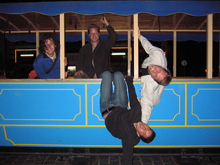 hanging from a train car