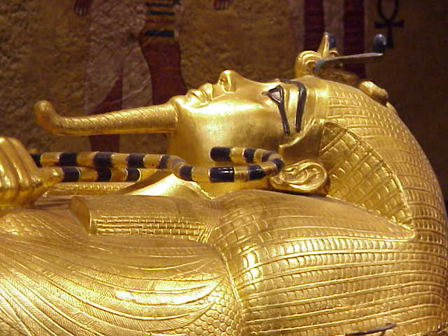 Tut's sarcophagus gleams with gold