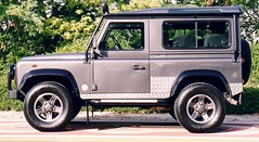 automobile(1.0), automotive exterior(1.0), sport utility vehicle(1.0), vehicle(1.0), compact sport utility vehicle(1.0), land rover(1.0), land rover defender(1.0), off-road vehicle(1.0), bumper(1.0), land vehicle(1.0),