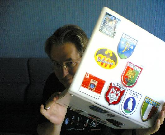 Bruce Sterling and his iBook