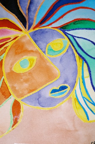 Abstract Color Face Watercolor Crayon Relief 2003