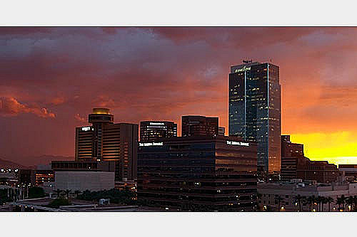 Incoming storm at Sunset in Downtown Phoenix