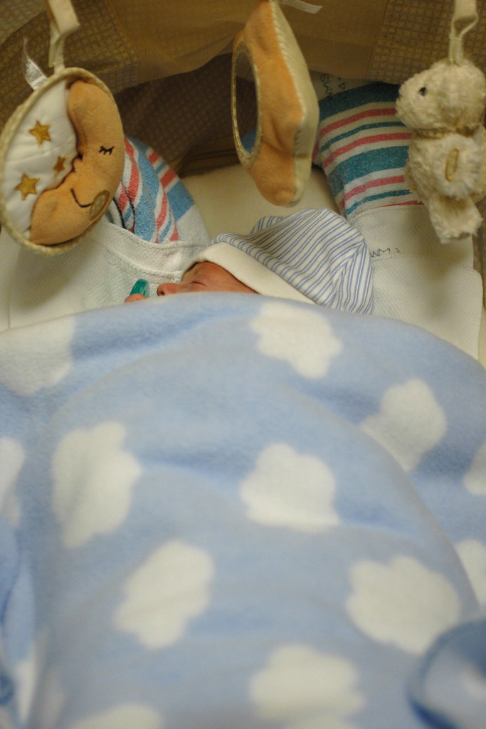 day 85: sleeping in his bouncy seat. I.