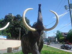 elephants and mammoths, sculpture, mammoth, statue,