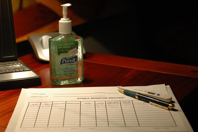 day 96: antiseptic hand wash and apnea journal