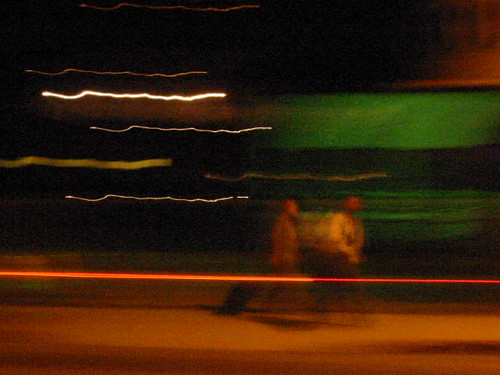"moving targets, night, ""red stripe"" green walking two"