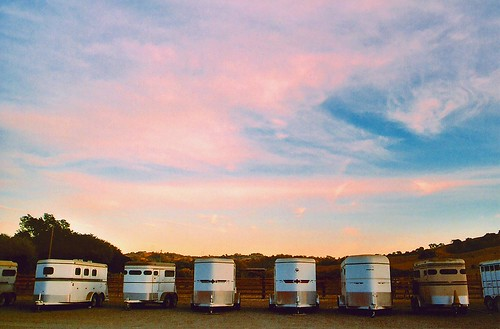 Horse Trailers by Calero Reservoir at Dusk