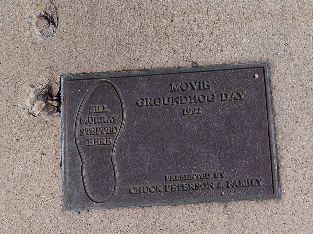 Photo of Bill Murray and Groundhog Day black plaque