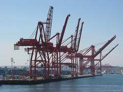 port, crane vessel (floating), vehicle, construction equipment,