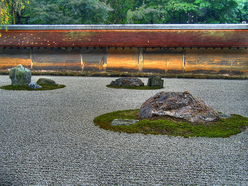 Rock garden at ryoanji temple in kyoto hdr a photo on for Medium sized rocks for landscaping