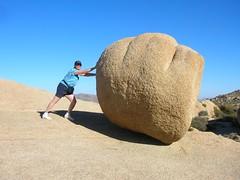 my mom pushing a boulder, joshua tree national park november 06
