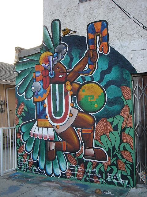 An aztec influenced mural east l a flickr photo sharing for Aztec mural painting