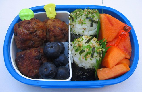 Meatball & onigiri lunch for toddler