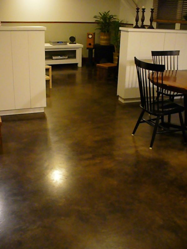 Condo floor acid dyed concrete flickr photo sharing for How to clean acid stain floors