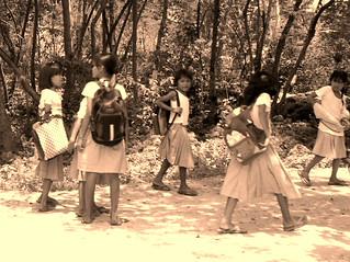 Girls returning from school