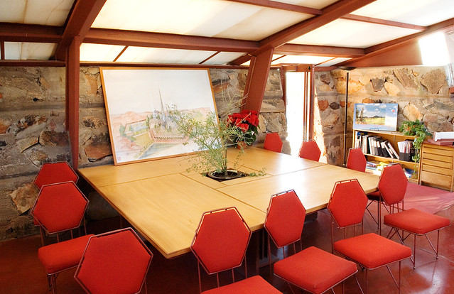 Frank Lloyd Wright's conference table, Taliesin West, Scottsdale, Arizona
