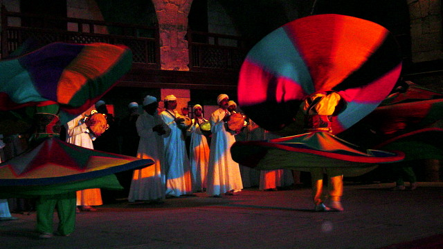 Cairo Egypt Al-Tanoura whirling dervishes perform to live Sufi music