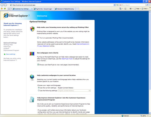 Internet Explorer 7: First run