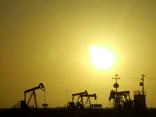 Sunset at Petroleum Field