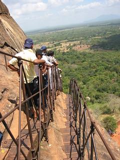 Narrow stairs ascending the mountain fortress at Sigiriya, Sri Lanka