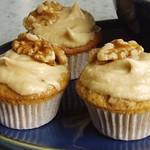 Walnut decorated mini coffee cakes