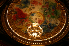 Chandelier and Chagall Painted Ceiling in the Auditorium of L'Opera-Garnier