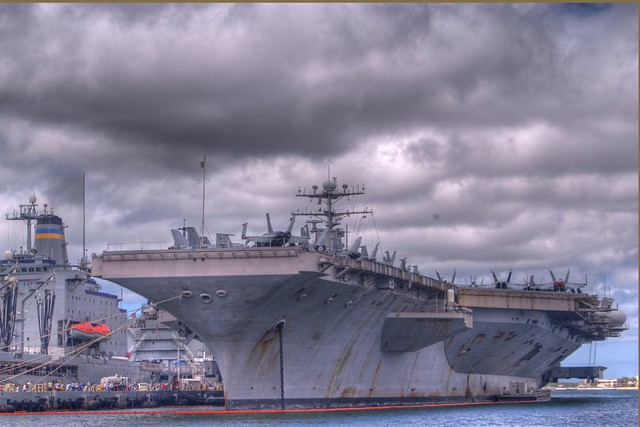 Aircraft Carrier at Pearl Harbour - HDR