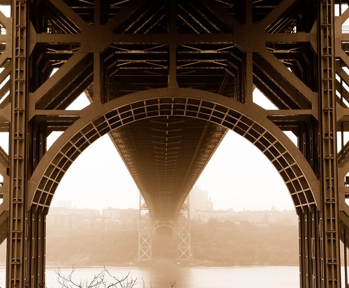 bridge topf25 fog sepia topf50 topf75 bravo 500v20f listeningto nj bridges hudsonriver fortlee georgewashingtonbridge jimcroce 1000v40f photographsmemories