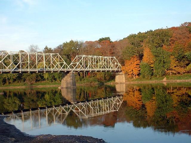 Historic Dingmans Bridge Spans The Delaware River Fall
