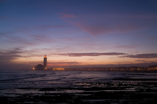The mosque Hassan II at dawn, Casablanca, Morocco