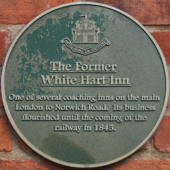Photo of White Hart Inn, Thetford green plaque