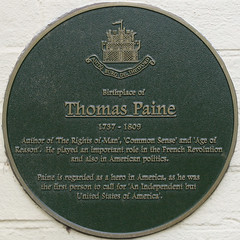 Photo of Thomas Paine green plaque