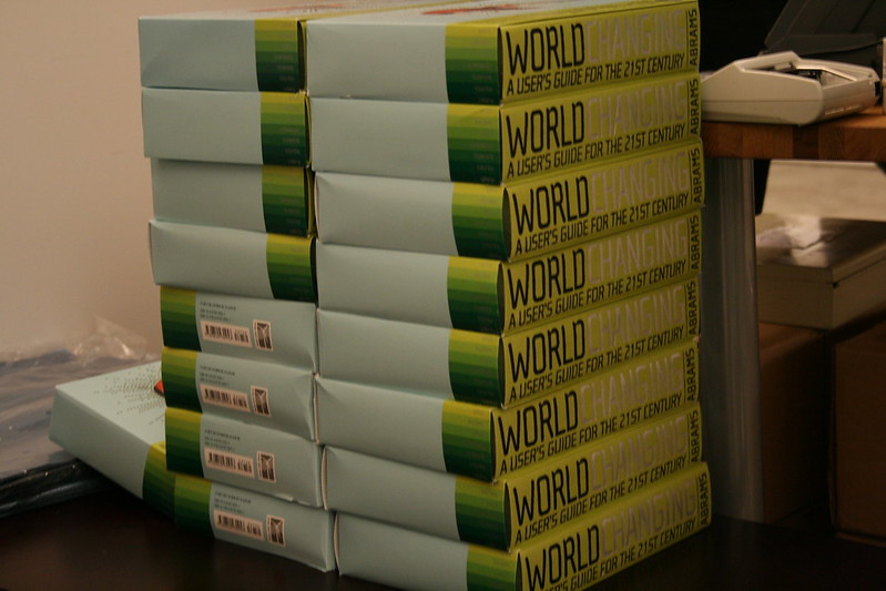 Stack of WorldChanging Books at the Vancouver Launch Party