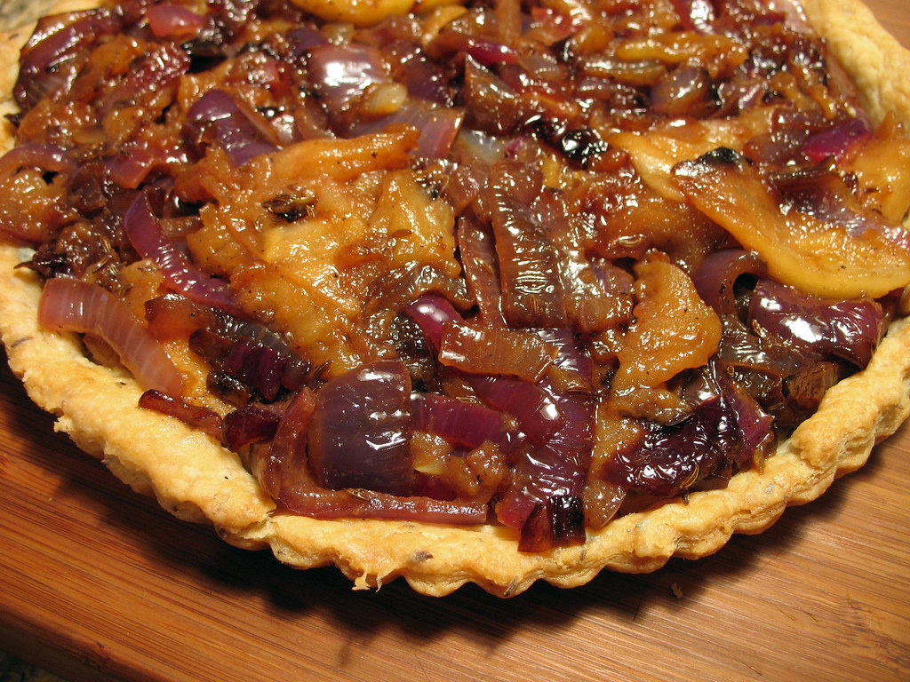 apple, red onion and caraway tart