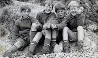 Schoolboys in England, on the beach