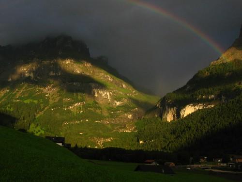 light sunset mountains schweiz switzerland rainbow grindelwald berner bernese oberland