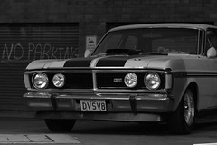 automobile, automotive exterior, vehicle, automotive design, monochrome photography, ford xy falcon gt, antique car, land vehicle, luxury vehicle, muscle car, black-and-white, sports car,