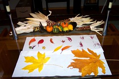 Fall leaves and centerpiece