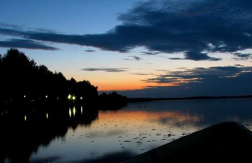 sunset lake reflection night rowboat pieksämäki pieksänjärvi