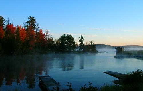 morning autumn trees favorite mist lake color nature sunrise dock maine lagoon coldstreampond