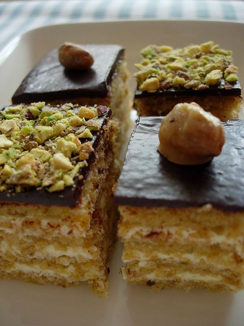 Chocolate Pistachios petit fours, opera cake style | Flickr - Photo ...