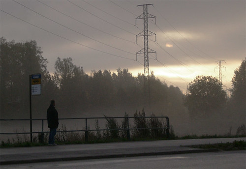 road mist fog sunrise espoo finland dawn waiting dailycommute busstop powerline
